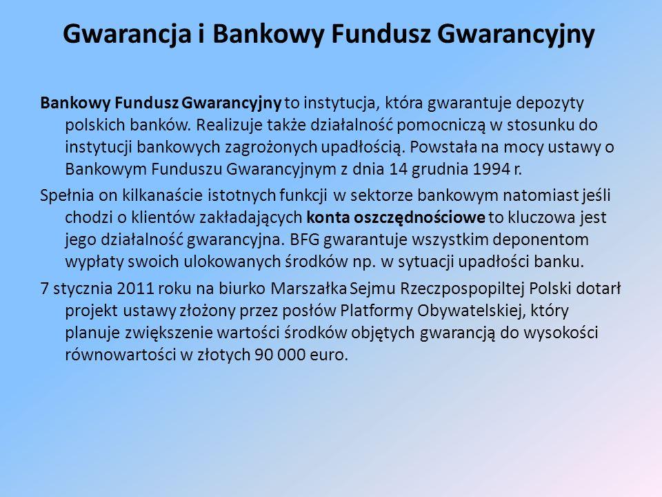 Gwarancja i Bankowy Fundusz Gwarancyjny Bankowy Fundusz Gwarancyjny to instytucja, która gwarantuje depozyty polskich banków.