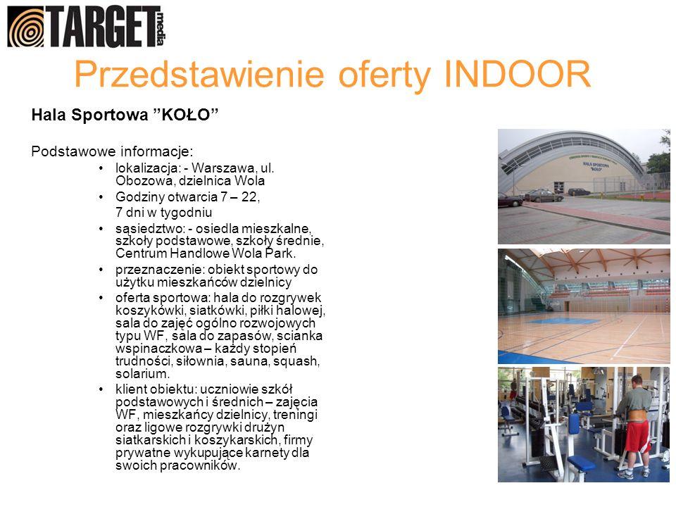 Przedstawienie oferty INDOOR Hala Sportowa KOŁO Podstawowe informacje: lokalizacja: - Warszawa, ul. Obozowa, dzielnica Wola Godziny otwarcia 7 – 22, 7