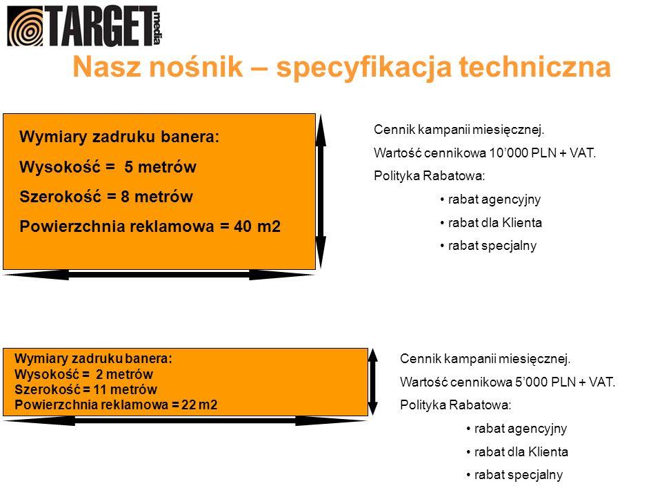 Nasz nośnik – specyfikacja techniczna Wymiary zadruku banera: Wysokość = 5 metrów Szerokość = 8 metrów Powierzchnia reklamowa = 40 m2 Wymiary zadruku