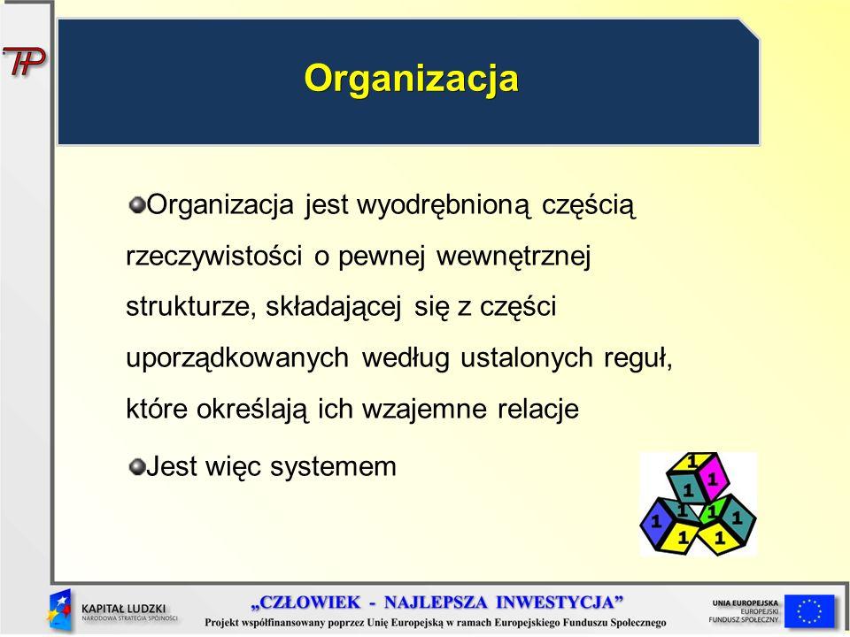 Organizacja jest wyodrębnioną częścią rzeczywistości o pewnej wewnętrznej strukturze, składającej się z części uporządkowanych według ustalonych reg