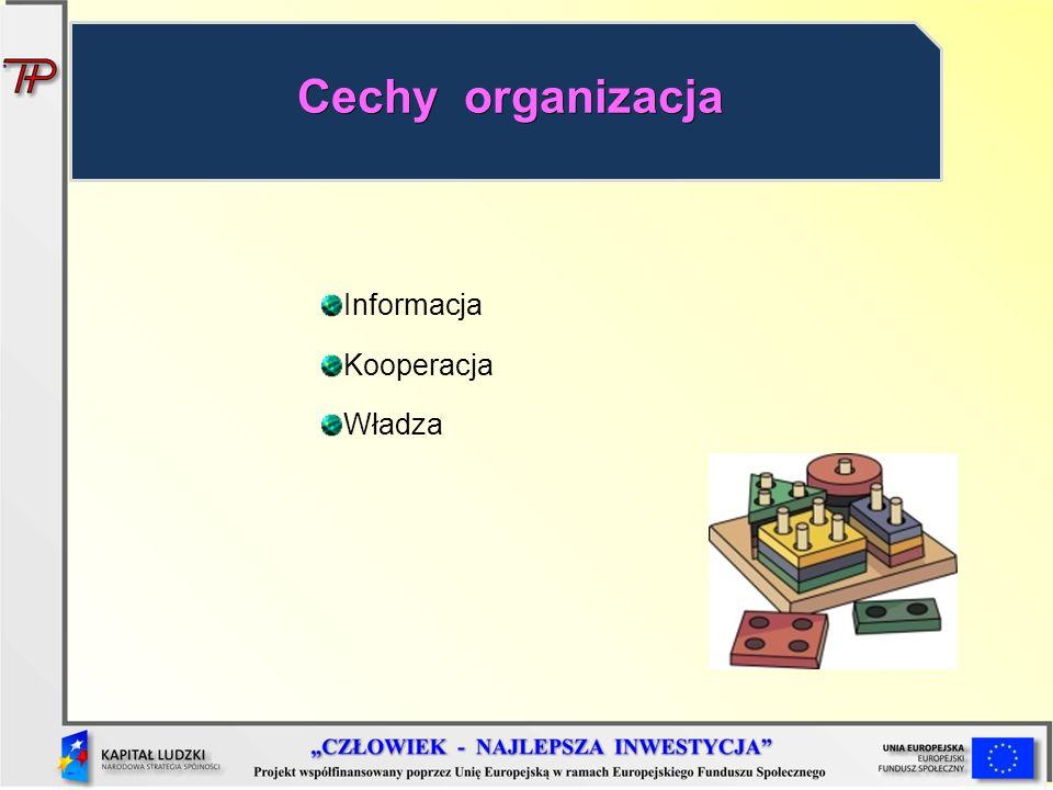 Informacja Kooperacja Władza Cechy organizacja