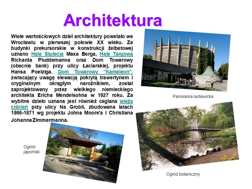 Architektura Wiele wartościowych dzieł architektury powstało we Wrocławiu w pierwszej połowie XX wieku. Za budynki prekursorskie w konstrukcji żelbeto