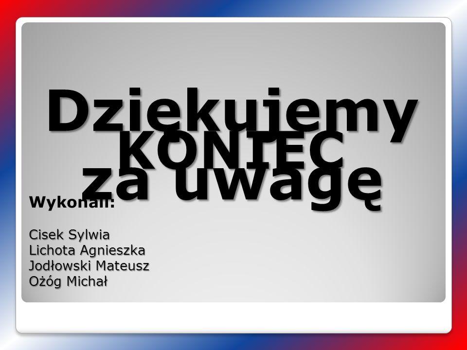 KONIEC Wykonali: Cisek Sylwia Lichota Agnieszka Jodłowski Mateusz Ożóg Michał Dziękujemy za uwagę