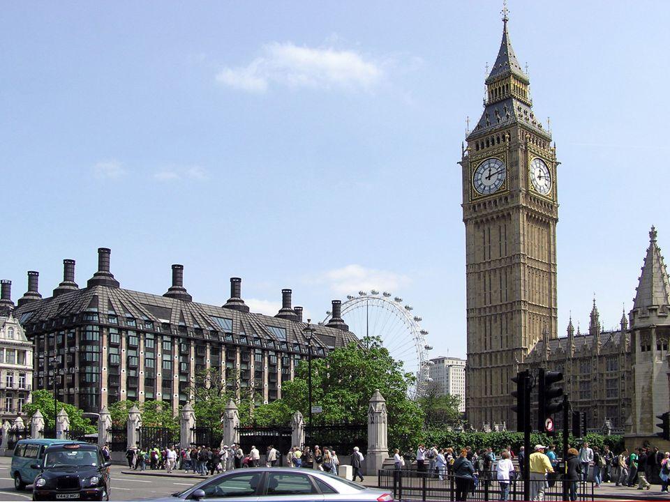 Big Ben - ważący 14 ton dzwon umieszczony na szczycie 106 metrowej wieży. Uważany jest on za symbol Wielkiej Brytanii. Big Ben - ważący 14 ton dzwon u