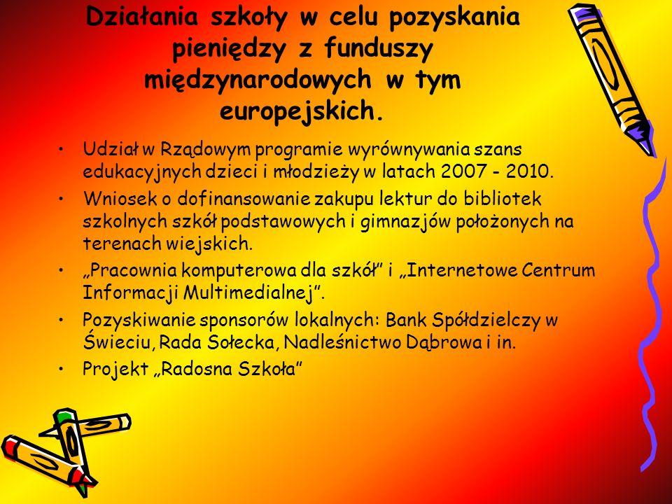 Działania szkoły w celu pozyskania pieniędzy z funduszy międzynarodowych w tym europejskich. Udział w Rządowym programie wyrównywania szans edukacyjny