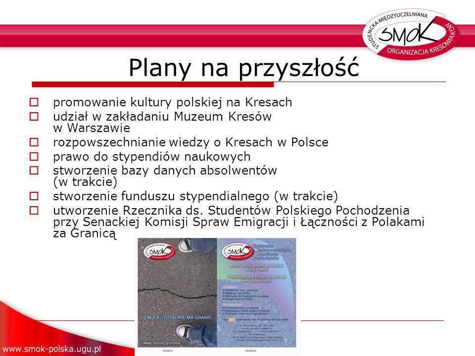 Plany na przyszłość promowanie kultury polskiej na Kresach udział w zakładaniu Muzeum Kresów w Warszawie rozpowszechnianie wiedzy o Kresach w Polsce prawo do stypendiów naukowych stworzenie bazy danych absolwentów (w trakcie) stworzenie funduszu stypendialnego (w trakcie) utworzenie Rzecznika ds.