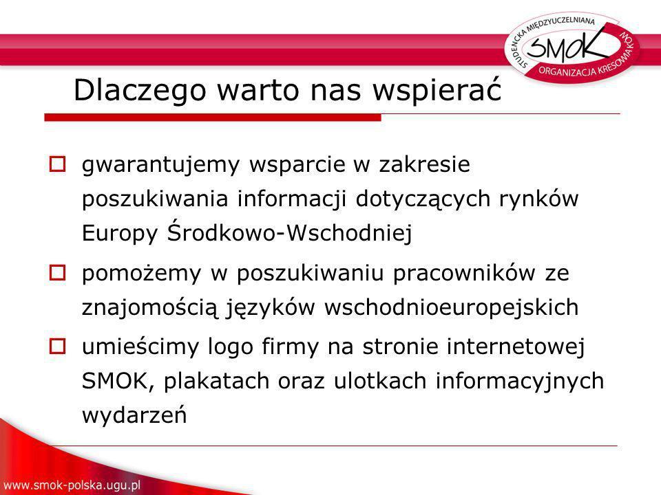 gwarantujemy wsparcie w zakresie poszukiwania informacji dotyczących rynków Europy Środkowo-Wschodniej pomożemy w poszukiwaniu pracowników ze znajomością języków wschodnioeuropejskich umieścimy logo firmy na stronie internetowej SMOK, plakatach oraz ulotkach informacyjnych wydarzeń Dlaczego warto nas wspierać