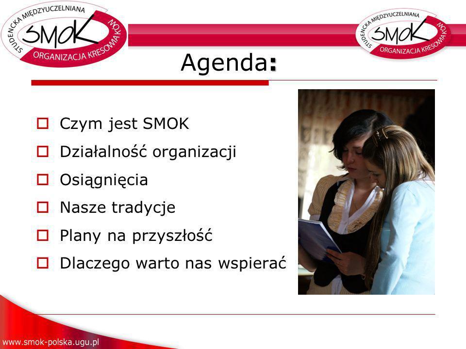 : Agenda: Czym jest SMOK Działalność organizacji Osiągnięcia Nasze tradycje Plany na przyszłość Dlaczego warto nas wspierać