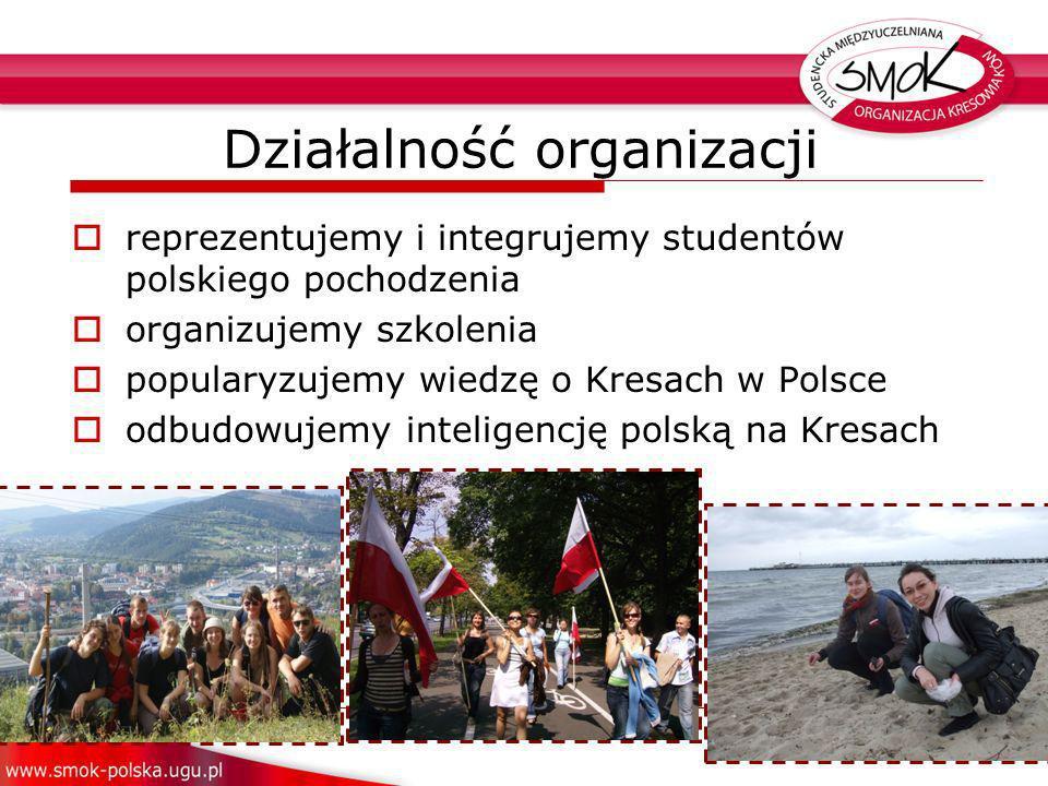reprezentujemy i integrujemy studentów polskiego pochodzenia organizujemy szkolenia popularyzujemy wiedzę o Kresach w Polsce odbudowujemy inteligencję polską na Kresach Działalność organizacji
