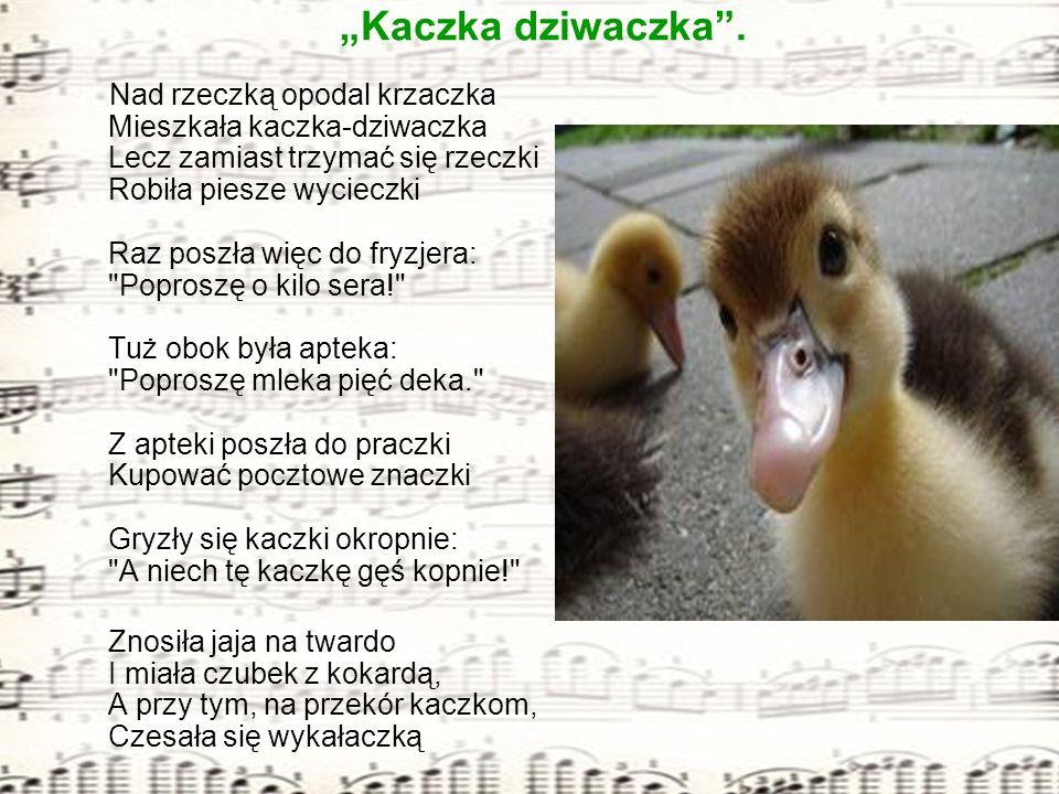 Klasa III a prezentuje piosenkę: Kaczka dziwaczka. Nad rzeczką opodal krzaczka Mieszkała kaczka-dziwaczka Lecz zamiast trzymać się rzeczki Robiła pies