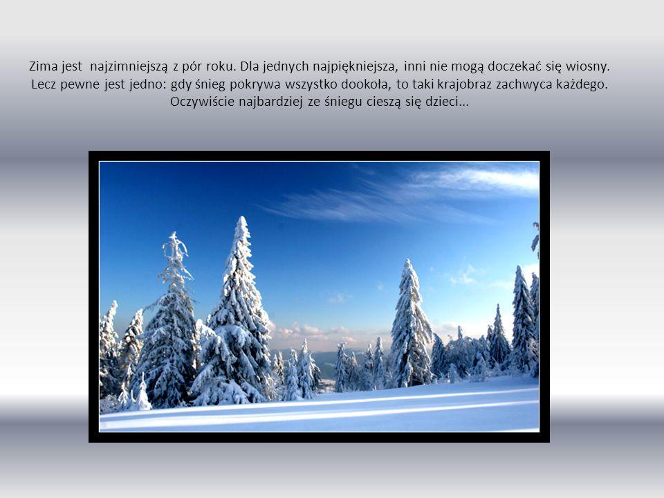 Zima jest najzimniejszą z pór roku. Dla jednych najpiękniejsza, inni nie mogą doczekać się wiosny. Lecz pewne jest jedno: gdy śnieg pokrywa wszystko d