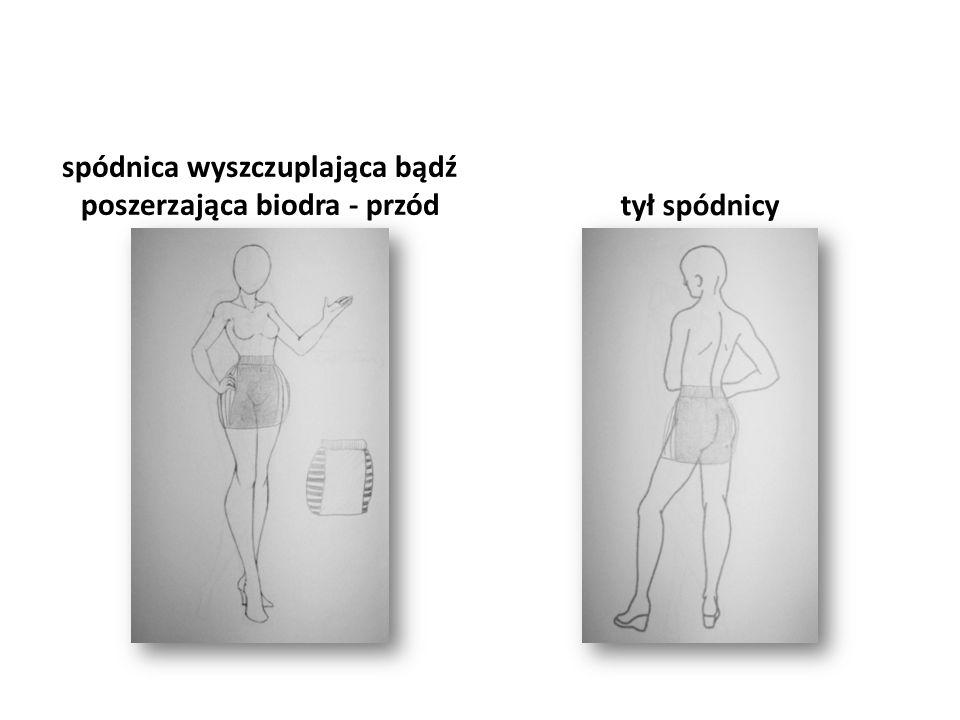 spódnica wyszczuplająca bądź poszerzająca biodra - przód tył spódnicy