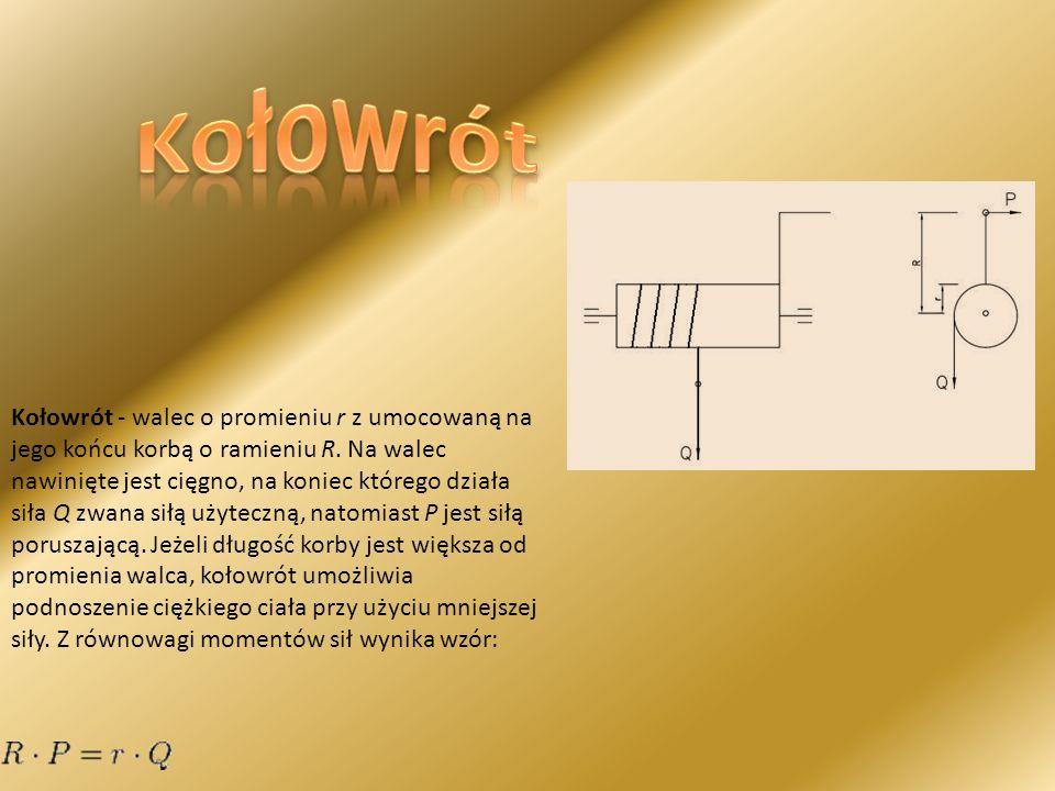 Kołowrót - walec o promieniu r z umocowaną na jego końcu korbą o ramieniu R. Na walec nawinięte jest cięgno, na koniec którego działa siła Q zwana sił