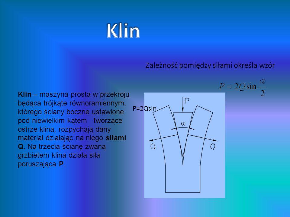 Klin – maszyna prosta w przekroju będąca trójkąte równoramiennym, którego ściany boczne ustawione pod niewielkim kątem tworzące ostrze klina, rozpycha