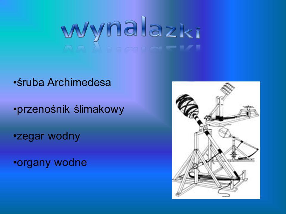 śruba Archimedesa przenośnik ślimakowy zegar wodny organy wodne