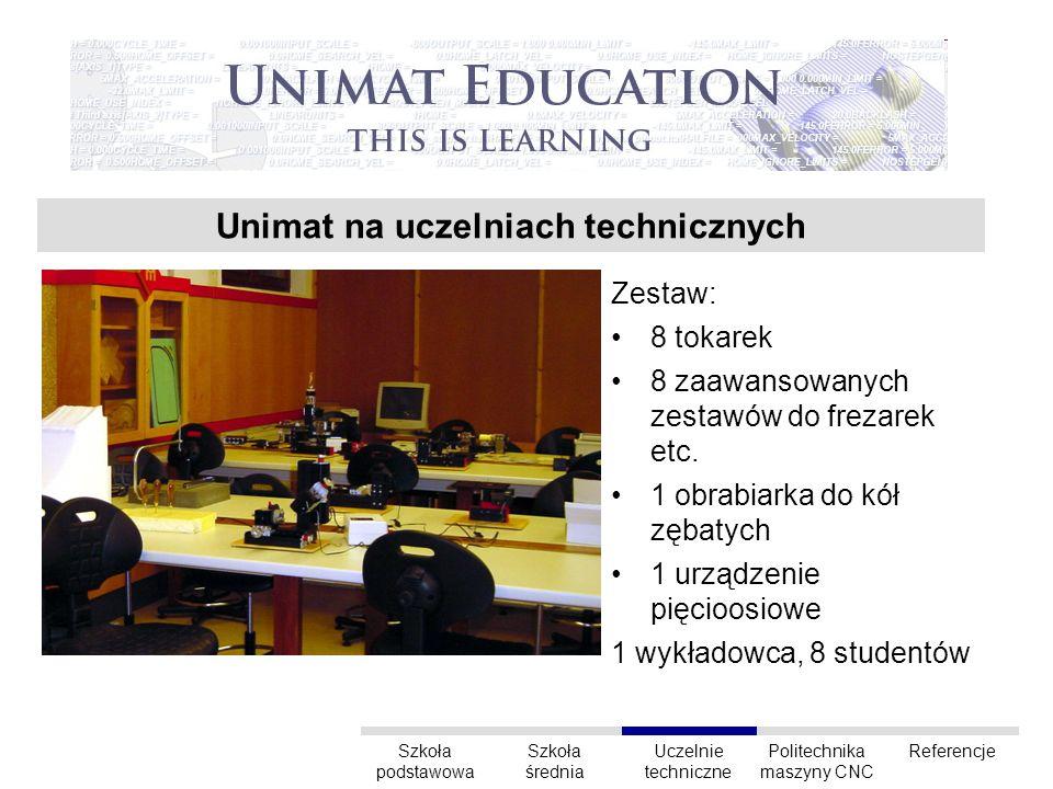 Unimat na uczelniach technicznych Zestaw: 8 tokarek 8 zaawansowanych zestawów do frezarek etc.