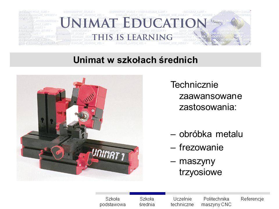 Refrencje Szkoła podstawowa Uczelnie techniczne Szkoła średnia Politechnika maszyny CNC Referencje Niemcy, Politechnika w Darmstadt Peru, Las Bambas, Recursos Tecnologicos RPA, szkoły zawodowe Unimat CNC Unimat 1 Unimat ML, PowerLine Zobrazowanie wyników pracy w aplikacjach JAVA przez wytwarzanie przedmiotów z akrylu.