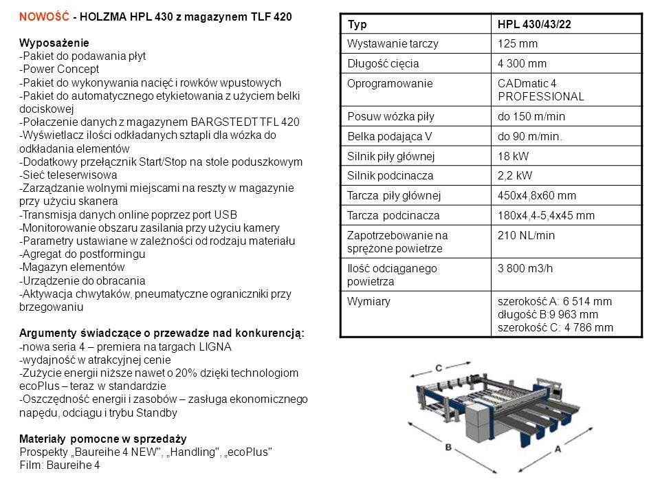 NOWOŚĆ - HOLZMA HPL 430 z magazynem TLF 420 Wyposażenie -Pakiet do podawania płyt -Power Concept -Pakiet do wykonywania nacięć i rowków wpustowych -Pa