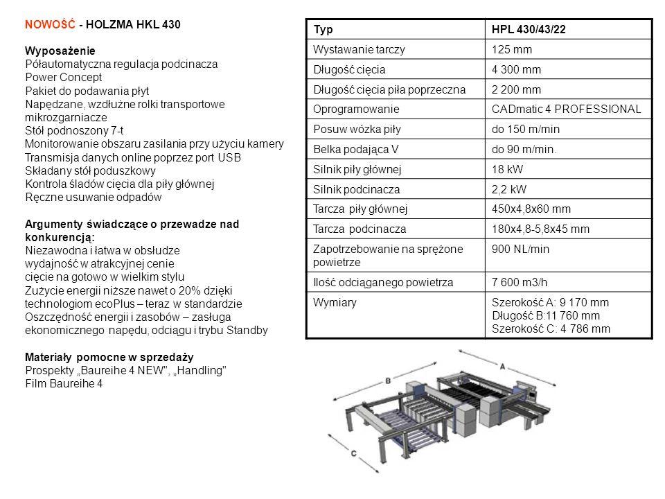 NOWOŚĆ - HOLZMA HKL 430 Wyposażenie Półautomatyczna regulacja podcinacza Power Concept Pakiet do podawania płyt Napędzane, wzdłużne rolki transportowe