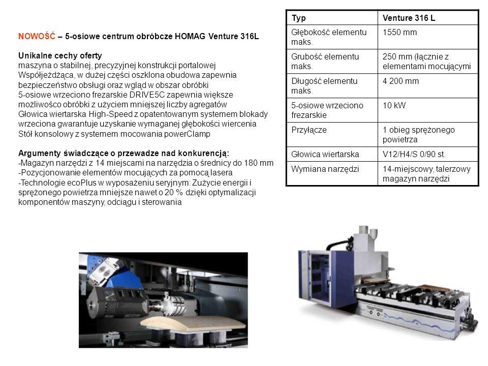 TypVenture 316 L Głębokość elementu maks. 1550 mm Grubość elementu maks. 250 mm (łącznie z elementami mocującymi Długość elementu maks. 4 200 mm 5-osi