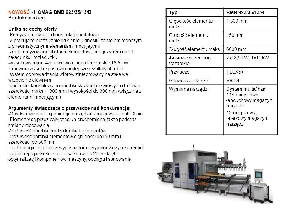 TypBMB 923/35/13/B Głębokość elementu maks. 1 300 mm Grubość elementu maks. 150 mm Długość elementu maks.6000 mm 4-osiowe wrzeciono frezarskie 2x18,5