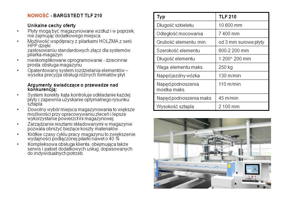 NOWOŚĆ - HOLZMA HPP 350 Wyposażenie -System podawania elementów Easy2Feed -Pakiet obsługi: pierwszy stół poduszkowy ma długość 2810 mm, zwiększona moc dmuchawy Pakiet do wykonywania nacięć i rowków wpustowych -Pakiet do etykietowania -1 x dwupalcowy chwytak (pozycja: 175 mm) -1 x jednopalcowy chwytak (pozycja: 750 mm) - 4 x pneumatyczne ograniczniki przy brzegowaniu -Urządzenia pomocnicze do podawania i odkładania elementów -Transmisja danych online poprzez port USB -Optymalizacja na pilarce: CADplan -Zarządzanie wolnymi miejscami na reszty w magazynie przy użyciu skanera -Pakiet do postformingu -Wyświetlacz ilości odkładanych sztapli dla wózka do odkładania elementów -Parametry ustawiane w zależności od rodzaju materiału Argumenty świadczące o przewadze nad konkurencją: -Nowa seria 3 – premiera we wrześniu 2010 -Bogate wyposażeniepodstawowe -Zużycie energii niższe nawet o 20% dzięki technologiom ecoPlus – teraz w standardzie -Oszczędność energii i zasobów – zasługa ekonomicznego napędu, odciągu i trybu Standby TypHPP 350/38/38 NEW Wystawanie tarczy80 mm Długość cięcia3 800 mm OprogramowanieCADmatic 4 PROFESSIONAL Posuw wózka piłyBdo150 m/min Belka podająca V90 m/min Silnik piły głównej13,5 kW Silnik podcinacza2,2 kW Tarcza piły głównej350x4,4x60 mm Tarcza podcinacza180x4,4-5,4x45 mm Zapotrzebowanie na sprężone powietrze 120NL/min Ilość odciąganego powietrzaOk.