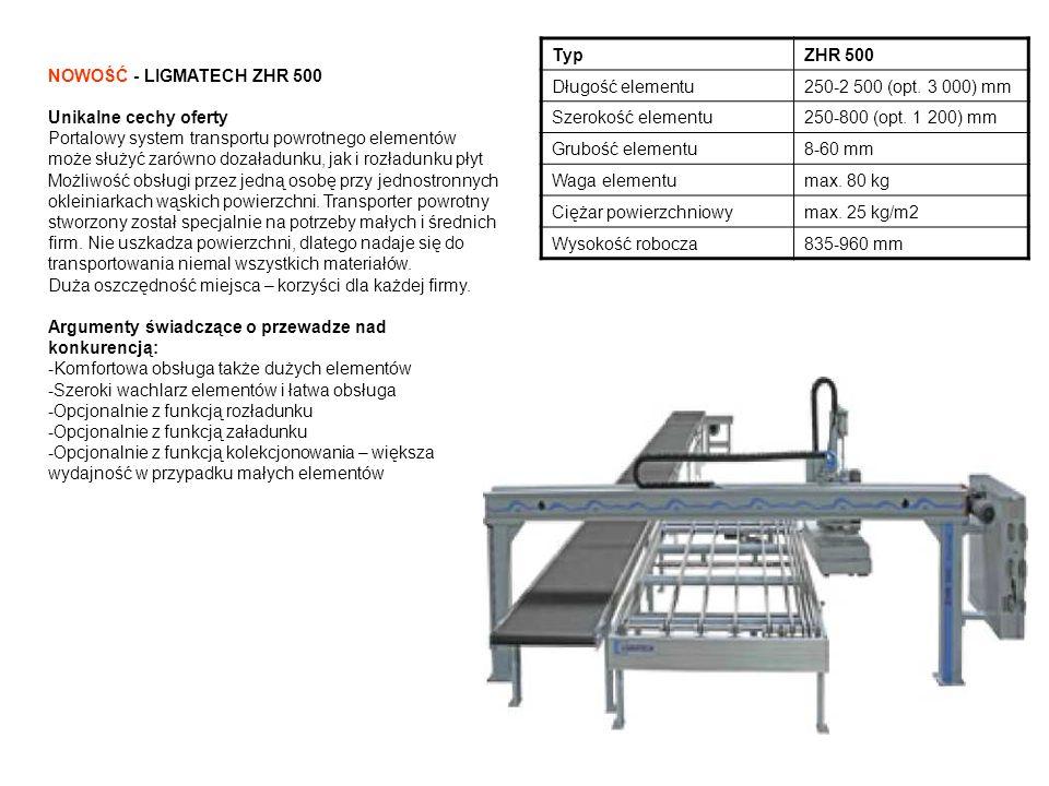 NOWOŚĆ - LIGMATECH MPH 450 z dodatkowym wyposażeniem Unikalne cechy oferty -w ramach dalszego rozwoju produktu, głównie z myślą o mniejszych firmach, prasa MPH 450 wyposażona została w dodatkowe urządzenia, które znacznie ułatwiają obsługę korpusów Argumenty świadczące o przewadze nad konkurencją: -Płyty prasy z wyrównywaniem tolerancji zapewniają zrównoważenie tolerancji elementu i absolutną szczelność korpusów -Rama prasy porusza się po prowadnicach liniowych -Nie ma konieczności pozycjonowania elementów prasy -Silny mechanizm dociskający gwarantuje idealną prostokątność mebli -Uproszczona konstrukcja napędu -Dwie prędkości prasy -Regulowany nacisk prasy -Zróznicowane maszyny podstawowe dla różnych korpusów -Łatwa obsługa za pomocą przycisków TypMPH 450 Długość korpusu250-2 500 mm Głębokość korpusu250-700 mm Wysokość korpusu150-1 400 mm Nacisk prasy12-18 kN Bieg szybki50 mm/s Ruch pełzający25 mm/s