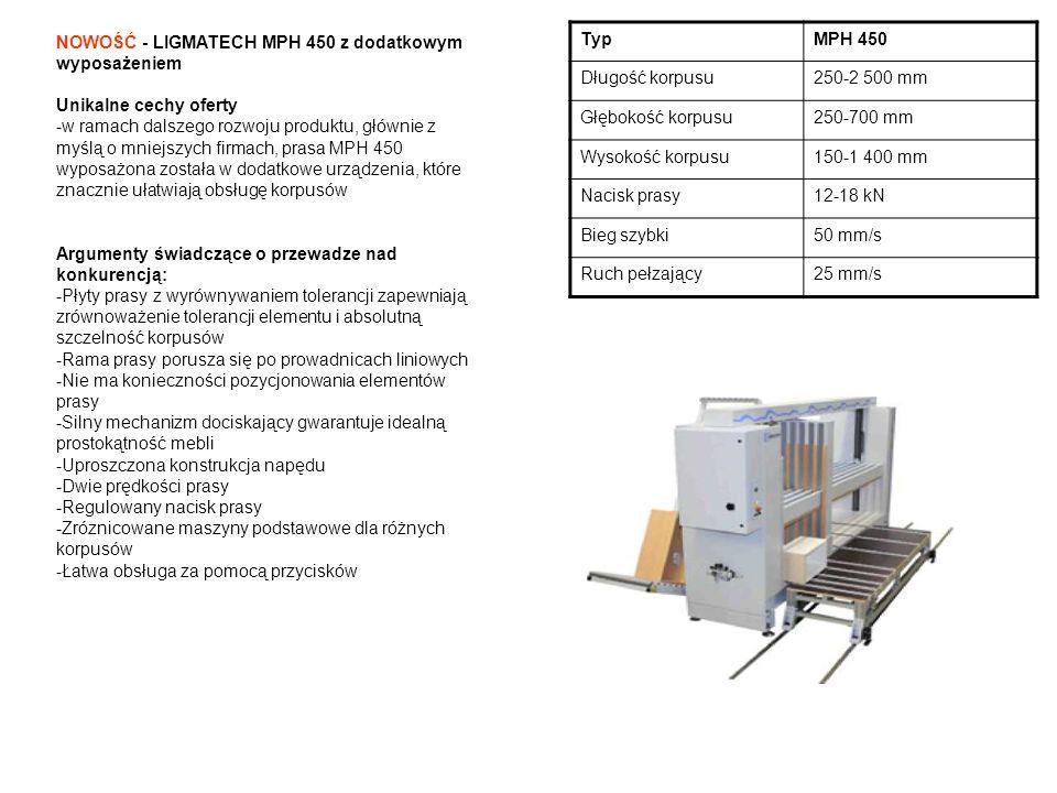 NOWOŚĆ - LIGMATECH MPH 450 z dodatkowym wyposażeniem Unikalne cechy oferty -w ramach dalszego rozwoju produktu, głównie z myślą o mniejszych firmach,