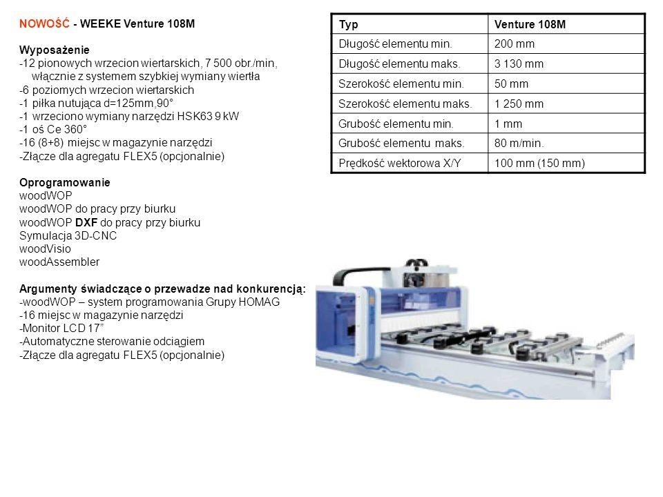NOWOŚĆ - WEEKE Vantage 200/710 Wyposażenie -21 pionowych wrzecion wiertarskich, 7 500 obr./min (opcjonalnie) -6 poziomych wrzecion wiertarskich (opcjonalnie) -1 piłka nutująca d=125 mm, 90° (opcjonalnie) -1 wrzeciono wymiany narzędzi HSK63 12 kW (opcjonalnie) -1 oś C 360° (opcjonalnie) -14 miejsc w talerzowym magazynie narzędzi (opcjonalnie) -Złącze dla agregatu FLEX5 (opcjonalnie) -Wydajność systemu próżniowego 600/720 m3/h (2 x 300/360 m3/h, 50/60 Hz) komórka do nestingu Konzept 2 z magazynem płyt Oprogramowanie woodWOP woodWOP do pracy przy biurku woodWOP DXF do pracy przy biurku 3D CNC-Simulator woodVisio woodAssembler woodNest Basic Argumenty świadczące o przewadze nad konkurencją: -woodWOP - system programowania Grupy HOMAG -Automatyczne podawanie płyt z magazynu Bargstedt -Możliwość etykietowania elementów przy wyjściu z maszyny -Automatyczne sterowanie odciągiem -Złącze dla agregatu FLEX5 (opcjonalnie) -Oszczędność dzięki technologiom ecoPlus: -Tyb Stand-by (wyłaczenie pompy próżniowej)12 % -Wielopozycyjny odciąg 20 % -Redukcja ilości sprężonego powietrza6 % TypVantage 200/710 Długość elementu min.200 mm Długość elementu maks.3 100 mm Szerokość elementu min.50 mm Szerokość elementu maks.2 250 mm Grubość elementu min.1 mm Grubość elementu maks.125 mm Prędkość wektorowa X/Y105 m/min.