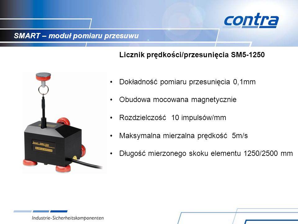 SMART – moduł pomiaru przesuwu Licznik prędkości/przesunięcia SM5-1250 Dokładność pomiaru przesunięcia 0,1mm Obudowa mocowana magnetycznie Rozdzielczość 10 impulsów/mm Maksymalna mierzalna prędkość 5m/s Długość mierzonego skoku elementu 1250/2500 mm