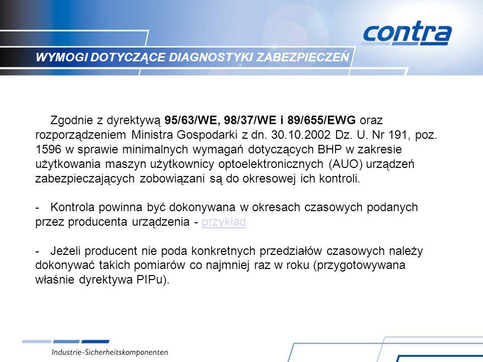 WYMOGI DOTYCZĄCE DIAGNOSTYKI ZABEZPIECZEŃ Zgodnie z dyrektywą 95/63/WE, 98/37/WE i 89/655/EWG oraz rozporządzeniem Ministra Gospodarki z dn.