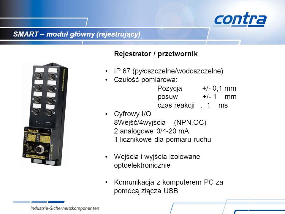 SMART – moduł główny (rejestrujący) Rejestrator / przetwornik IP 67 (pyłoszczelne/wodoszczelne) Czułość pomiarowa: Pozycja +/- 0,1 mm posuw +/- 1 mm czas reakcji.