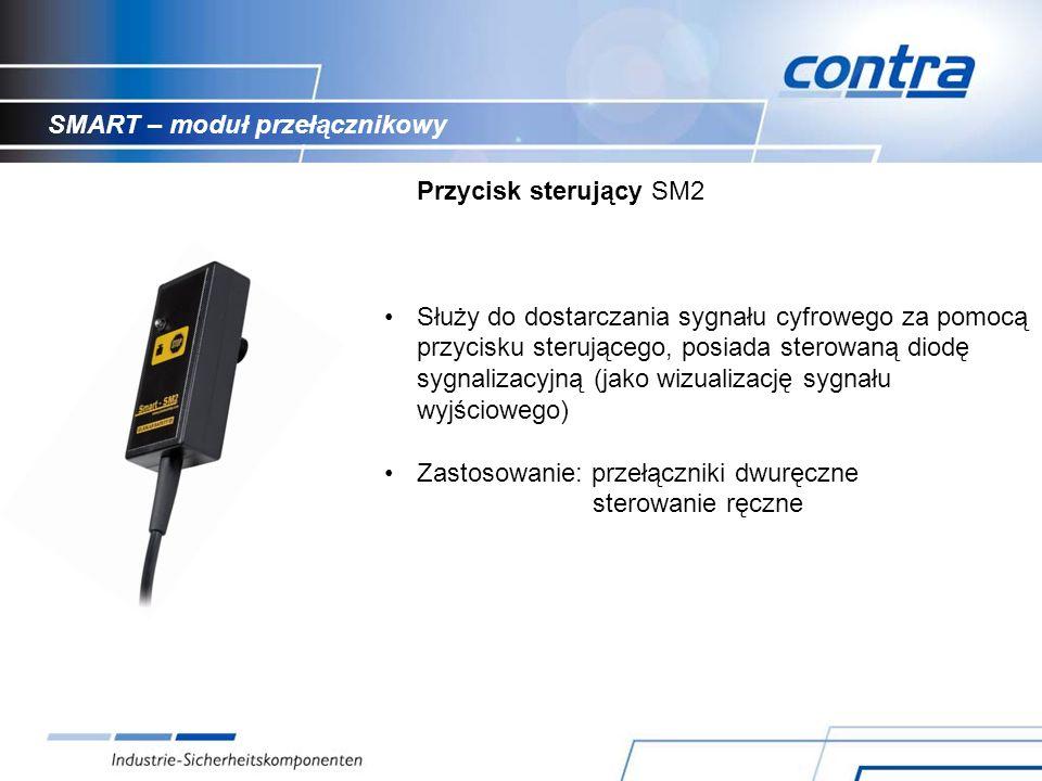 SMART – moduł przełącznikowy Przycisk sterujący SM2 Służy do dostarczania sygnału cyfrowego za pomocą przycisku sterującego, posiada sterowaną diodę sygnalizacyjną (jako wizualizację sygnału wyjściowego) Zastosowanie: przełączniki dwuręczne sterowanie ręczne