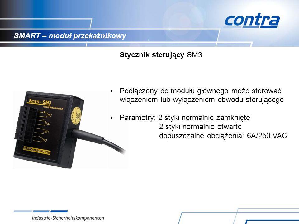 SMART – moduł przekaźnikowy Stycznik sterujący SM3 Podłączony do modułu głównego może sterować włączeniem lub wyłączeniem obwodu sterującego Parametry: 2 styki normalnie zamknięte 2 styki normalnie otwarte dopuszczalne obciążenia: 6A/250 VAC