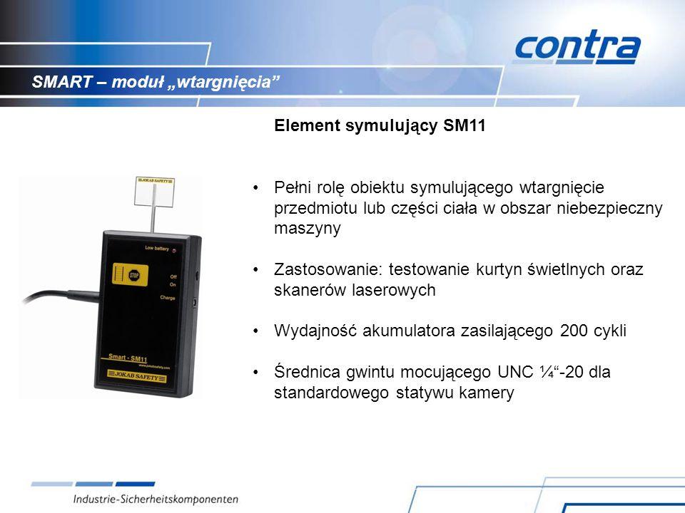 SMART – moduł wtargnięcia Element symulujący SM11 Pełni rolę obiektu symulującego wtargnięcie przedmiotu lub części ciała w obszar niebezpieczny maszyny Zastosowanie: testowanie kurtyn świetlnych oraz skanerów laserowych Wydajność akumulatora zasilającego 200 cykli Średnica gwintu mocującego UNC ¼-20 dla standardowego statywu kamery