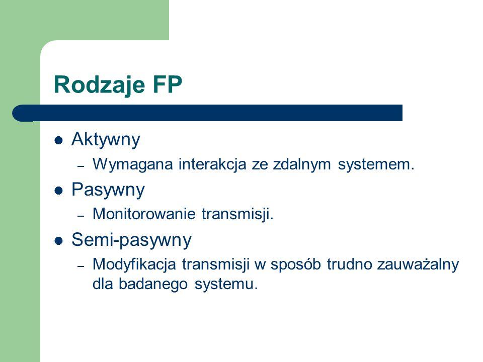 Rodzaje FP Aktywny – Wymagana interakcja ze zdalnym systemem. Pasywny – Monitorowanie transmisji. Semi-pasywny – Modyfikacja transmisji w sposób trudn