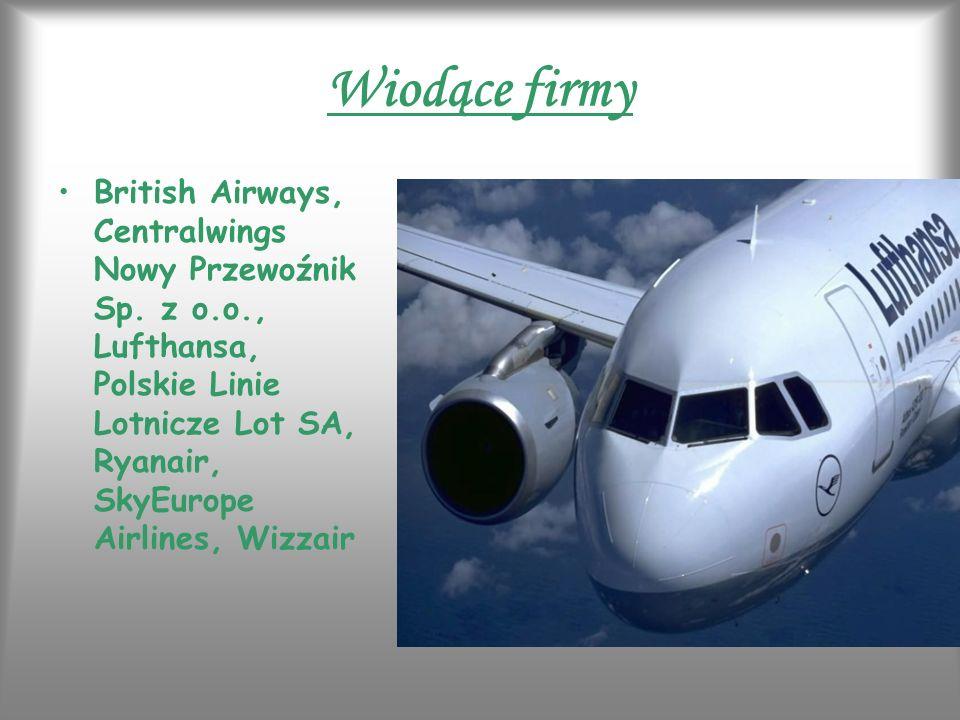 Wiodące firmy British Airways, Centralwings Nowy Przewoźnik Sp. z o.o., Lufthansa, Polskie Linie Lotnicze Lot SA, Ryanair, SkyEurope Airlines, Wizzair