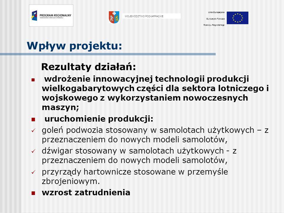 Wpływ projektu: Rezultaty działań: wdrożenie innowacyjnej technologii produkcji wielkogabarytowych części dla sektora lotniczego i wojskowego z wykorz