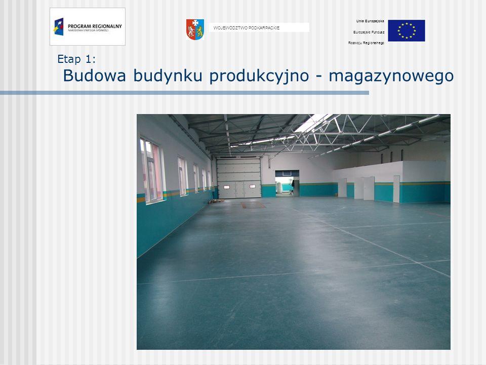 Etap 1: Budowa budynku produkcyjno - magazynowego WOJEWÓDZTWO PODKARPACKIE Unia Europejska Europejski Fundusz Rozwoju Regionalnego