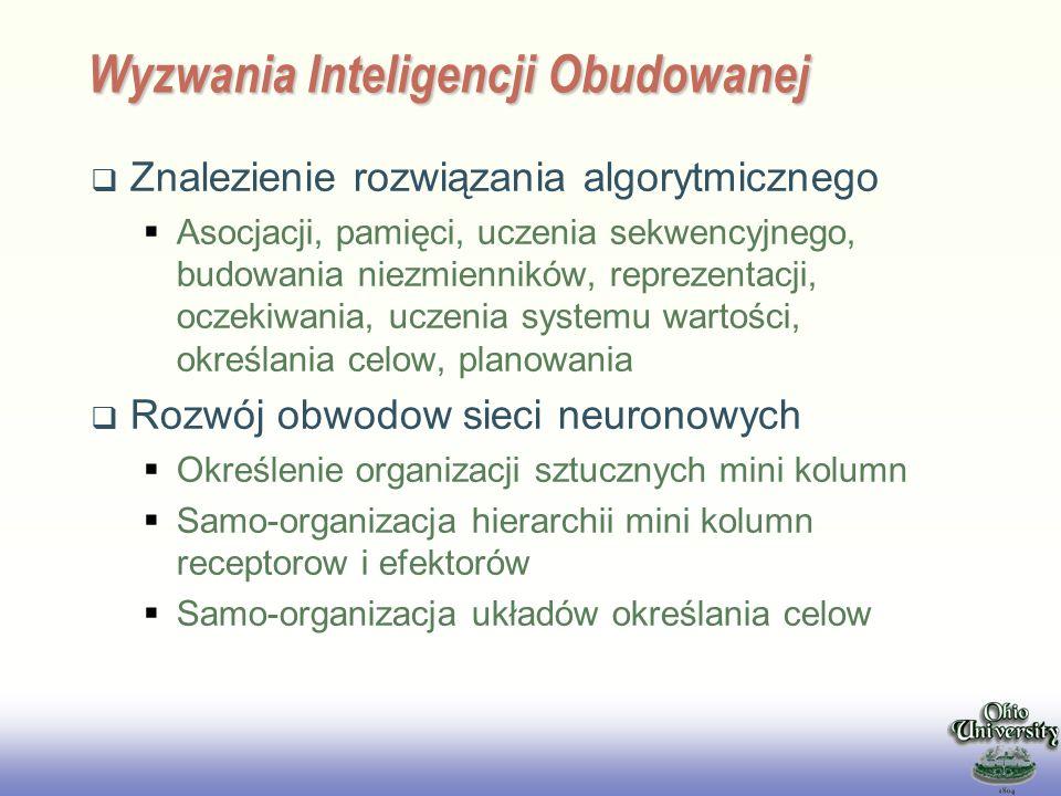 EE141 Wyzwania Inteligencji Obudowanej Znalezienie rozwiązania algorytmicznego Asocjacji, pamięci, uczenia sekwencyjnego, budowania niezmienników, rep