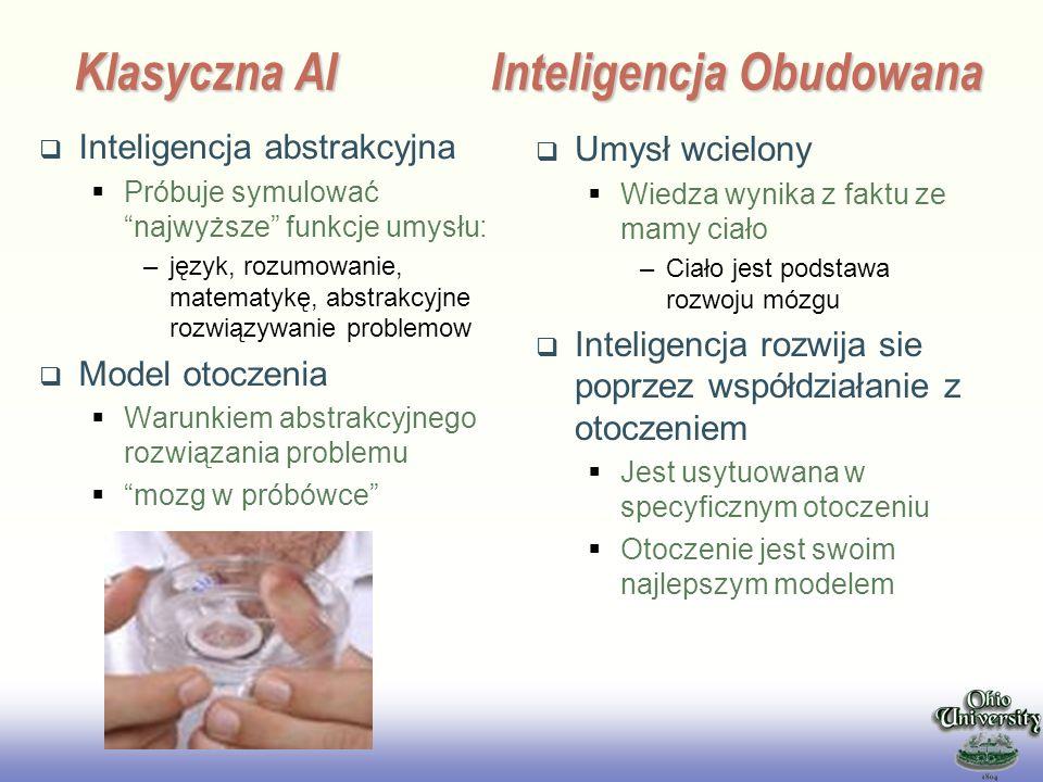 EE141 Klasyczna AIInteligencja Obudowana Inteligencja abstrakcyjna Próbuje symulować najwyższe funkcje umysłu: –język, rozumowanie, matematykę, abstra