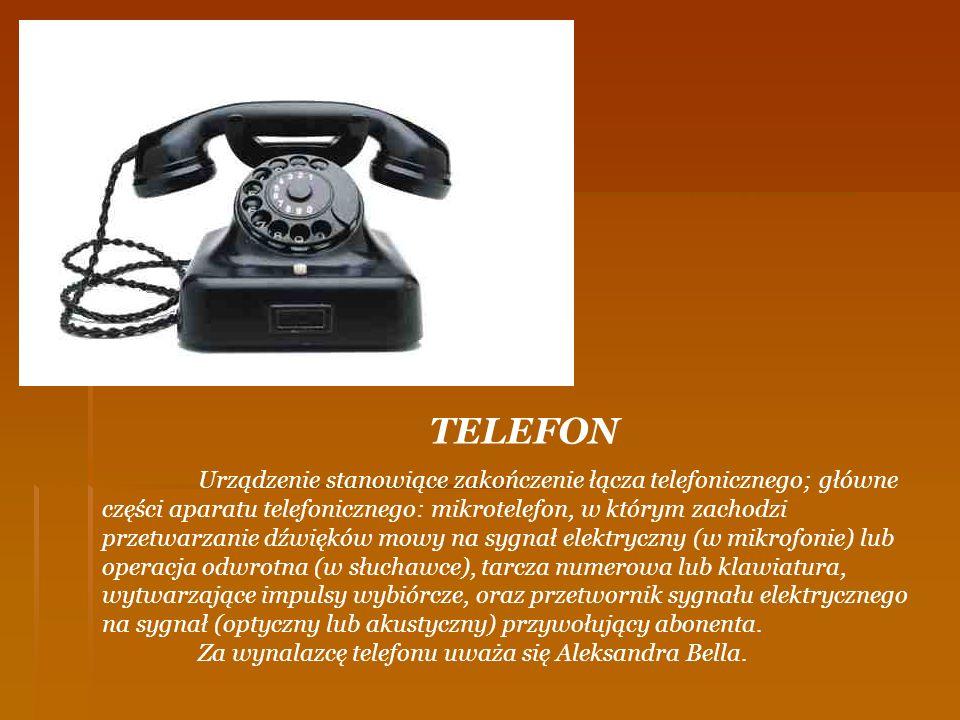 TELEFON Urządzenie stanowiące zakończenie łącza telefonicznego; główne części aparatu telefonicznego: mikrotelefon, w którym zachodzi przetwarzanie dź