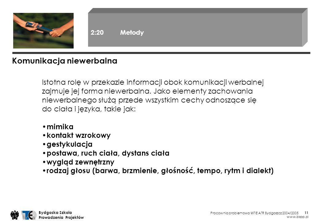 Pracownia problemowa WTiE ATR Bydgoszcz 2004/2005 Bydgoska Szkola Prowadzenia Projektów www.bspp.pl 11 Istotna rolę w przekazie informacji obok komuni