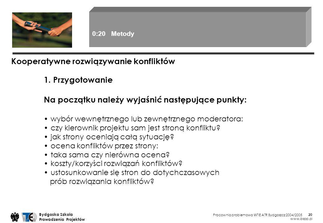 Pracownia problemowa WTiE ATR Bydgoszcz 2004/2005 Bydgoska Szkola Prowadzenia Projektów www.bspp.pl 20 1. Przygotowanie Na początku należy wyjaśnić na