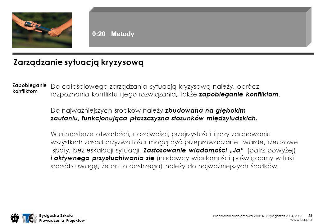 Pracownia problemowa WTiE ATR Bydgoszcz 2004/2005 Bydgoska Szkola Prowadzenia Projektów www.bspp.pl 28 Zarządzanie sytuacją kryzysową Zapobieganie kon