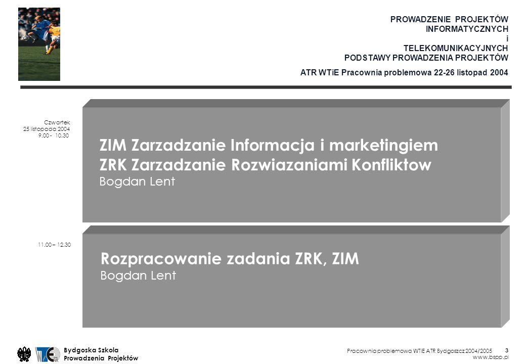 Pracownia problemowa WTiE ATR Bydgoszcz 2004/2005 Bydgoska Szkola Prowadzenia Projektów www.bspp.pl 4 Procesy 0:00 ZRK Zarzadzanie Rozwiazaniami Konfliktow Czynnik ludzki 2:00 ZIM Zarzadzanie Informacja i Marketingiem