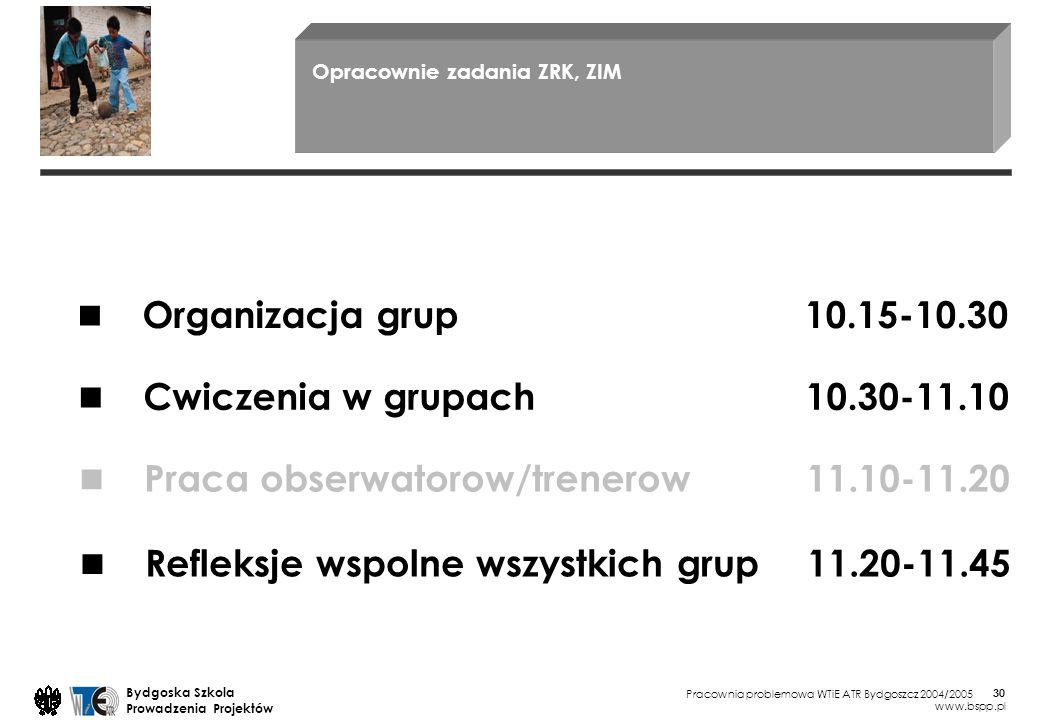Pracownia problemowa WTiE ATR Bydgoszcz 2004/2005 Bydgoska Szkola Prowadzenia Projektów www.bspp.pl 30 Opracownie zadania ZRK, ZIM Organizacja grup 10