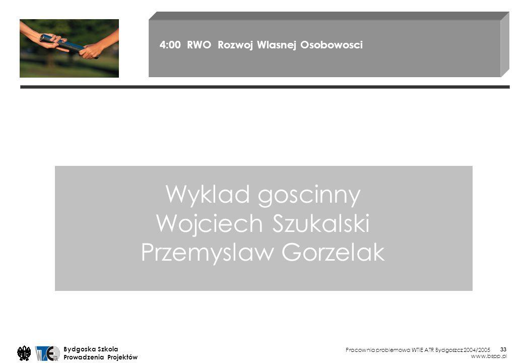 Pracownia problemowa WTiE ATR Bydgoszcz 2004/2005 Bydgoska Szkola Prowadzenia Projektów www.bspp.pl 33 Wyklad goscinny Wojciech Szukalski Przemyslaw G