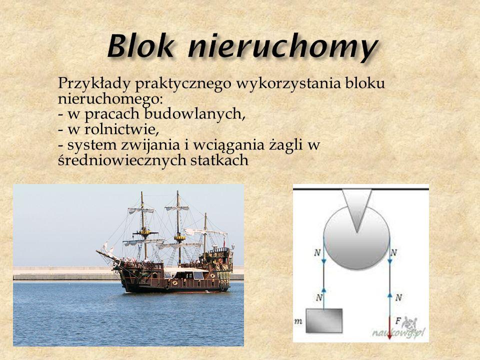 Przykłady praktycznego wykorzystania bloku nieruchomego: - w pracach budowlanych, - w rolnictwie, - system zwijania i wciągania żagli w średniowieczny