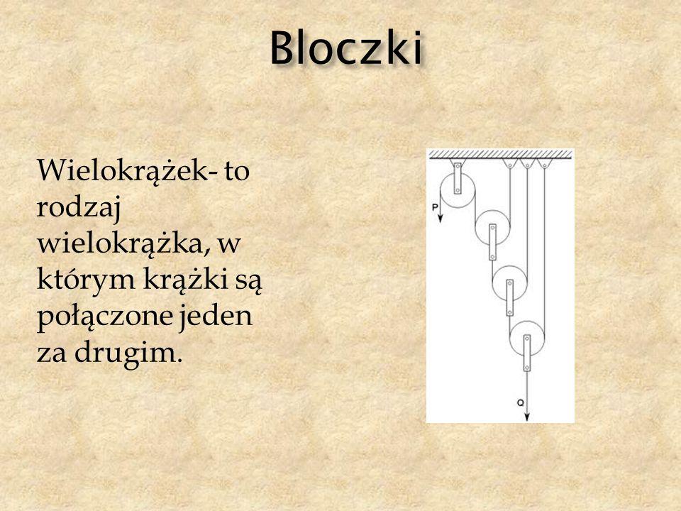 Bloczki Wielokrążek- to rodzaj wielokrążka, w którym krążki są połączone jeden za drugim.